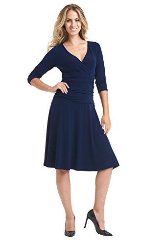 Blue Crossover (Rekucci Women's Slimming 3/4 Sleeve Fit-and-Flare Crossover Tummy Control Dress)