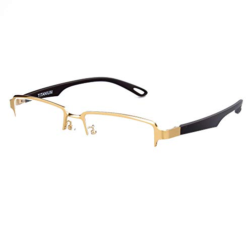 (SO SMOOTH WIND Pure Titanium Glasses Frame For Men Lightweight Business Eyeglasses Male 54mm (Golden color))