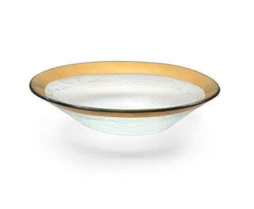 Annie Glass Roman Antique 8 X 10 Medium Oval Bowl Gold ()