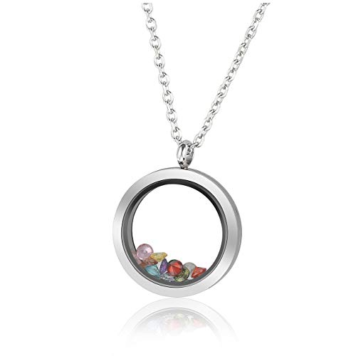 PiercingJ 25mm / 30mm Polish Stainless Steel Floating Living Memory Locket Glass Pendant Necklace Birthstone Necklaces with Birthstones Best Mom Mother Women Gift