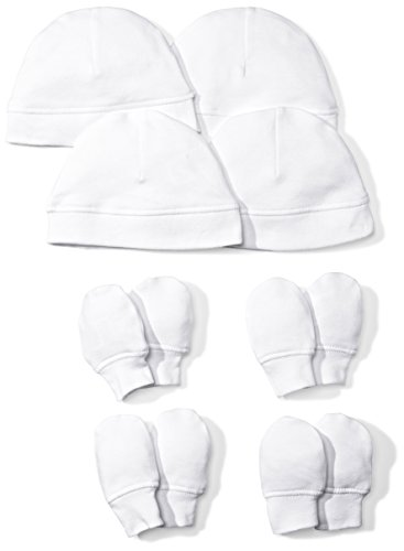 Moon and Back Baby Set of 4 Organic Cap and Mitten Sets, White Cloud, 0-6 Months (Set Cap Hat)