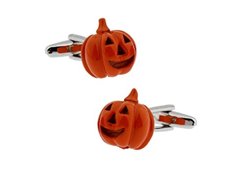 MRCUFF Pumpkin Halloween Jack O Lantern Pair Cufflinks in a Presentation Gift Box & Polishing -