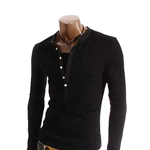 AMBLY Tシャツ メンズ ヘンリーネック カットソー 長袖 無地 ロングスリーブ ロンT トップス キレイめ コーデ 黒 白 グレー 春 夏 秋 メンズファッション