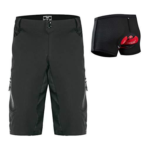 WOSAWE Men's Cycling 3D Padded Shorts Bike Riding Underwear Combo MTB Baggy Shorts, Set XXL