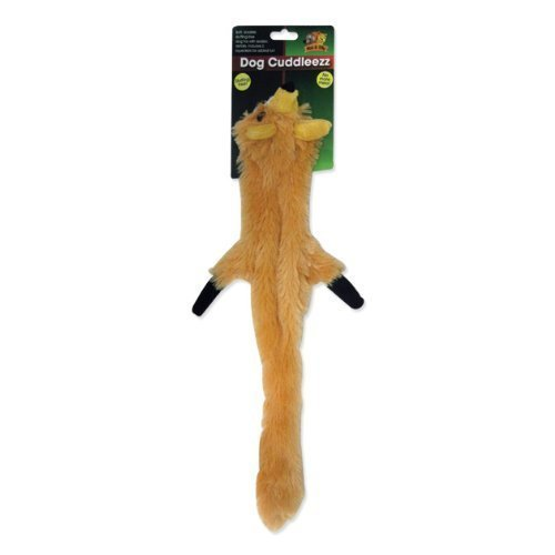 Cuddly Tug & Squeak Fox Dog Puppy Pet Toy Chew Stuffing Free No Mess Skinneez (Pet Skinneez Toy)