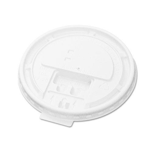 Boardwalk Hot Cup Tear-Tab Lids, 10-20oz, White - 10 sleeves of 100 lids each.