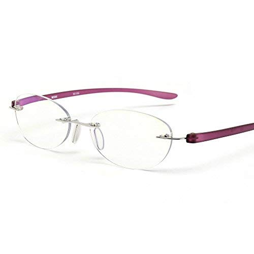 (MIDI Blue Light Blocking Rimless Reading Glasses for Women (M-106N) - Blue Light Filter Reading Glasses (Violet, 2.00))