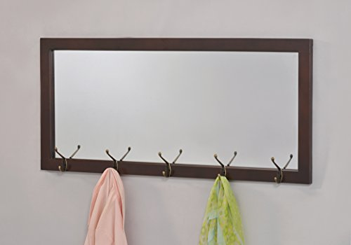 Espresso Finish Wooden Wall Hanging Rectangular Entryway Mirror with 10 Hooks Coat Rack for Hats, Jackets, Scarf