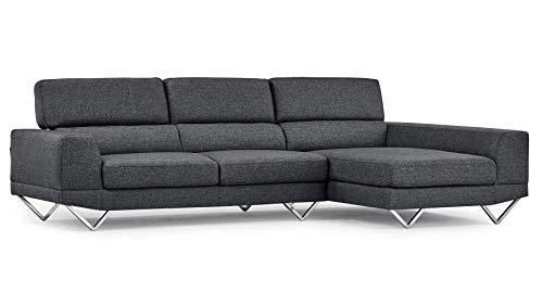Amazon Com Grey Trago Fabric Sectional Sofa Right Chaise Kitchen