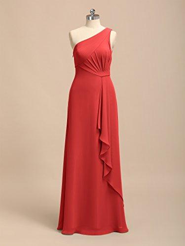 Alicepub Une Robes De Demoiselle D'honneur De Mariage D'épaule Pour Les Femmes En Mousseline De Soie Robe Formelle De Soirée Rouge