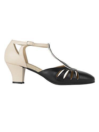 Romp 9210 Dames Dansschoenen Balboa Latin Salsa Rumba Tango Ballroom Schoenen Materiaal, Leer, Suède Zool Hak 5 Cm, Gemaakt In Italie Zwart / Beige