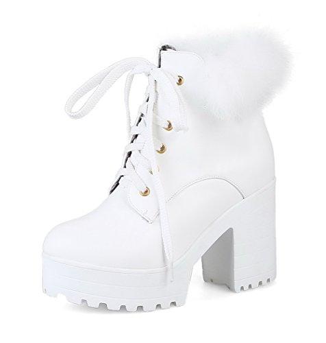 VogueZone009 Damen Rein Hoher Absatz Rund Zehe Schnüren Stiefel Weiß