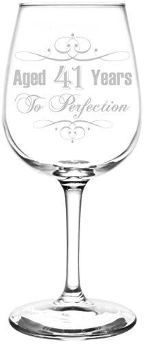 (41st) Aged To Perfection Elegant & Vintage Birthday Celebration Inspired - Laser Engraved 12.75oz Libbey All-Purpose Wine Taster Glass