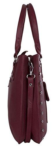 Big Handbag Shop - Bolso de asas de piel sintética para mujer Talla única rosa