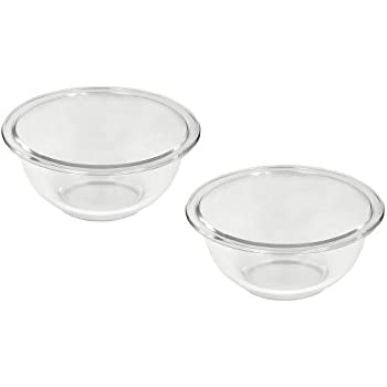 Pyrex Prepware 1-Quart Rimmed Mixing Bowl, Clear (Pack of 2)