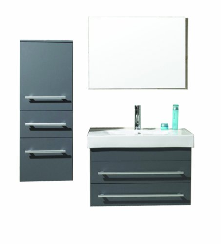 Virtu Usa Um 3081 C Gr Antonio 29 Inch Wall Mounted Single Sink Bathroom Vanity Set  Grey Finish