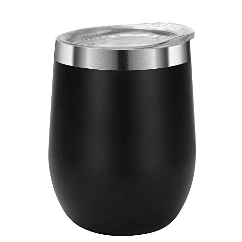 12 oz Stemless Wine Glass Tumbler with Lid, Double Wall Vacuum Insulation Stainless Steel Travel Tumbler Cup for Keeping Wine, Coffee Drinks, Champagne, Cocktails ()