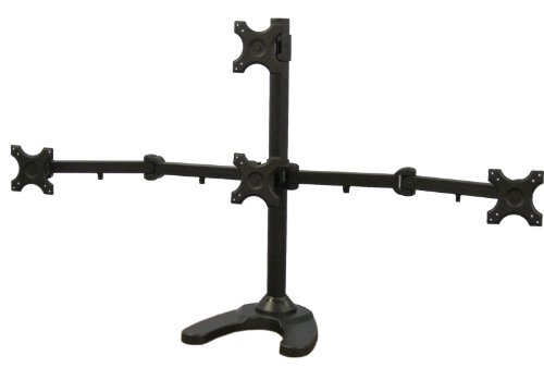 VIVO Quad LCD Monitor Desk Stand/Mount Free Standing with Optional bolt-through mount 3 + 1 = 4 Screens upto 24' (STAND-V004T)