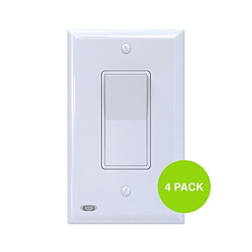 4 Pack SnapPower SwitchLight - Light Switch Cover Plate With Built-In LED Night Light - Add Ambience Lighting To Your Home In Seconds - (Rocker, White) by SnapPower (Image #3)