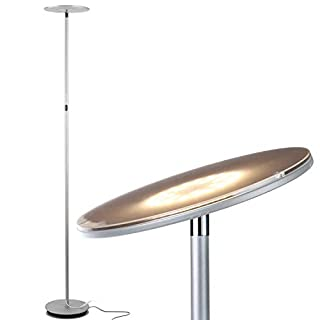 Brightech Sky LED Torchiere Super Bright Floor Lamp - Contemporary, High Lumen Light for Living Rooms & Offices - Dimmable, Indoor Pole Uplight for Bedroom Reading - Platinum Silver