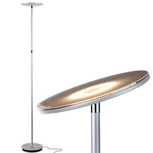 - Brightech Sky LED Torchiere Super Bright Floor Lamp - Tall Standing Modern Pole Light for Living Rooms & Offices - Dimmable Uplight for Reading Books in Your Bedroom etc - Platinum Silver