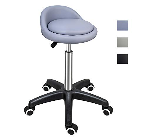 (Grace & Grace Professional Gilder Series with Backrest Comfortable Seat Rolling Swivel Pneumatic Adjustable Heavy Duty Stool for Shop, Salon, Office and Home (Classic Quality Nylon Base, Purple))