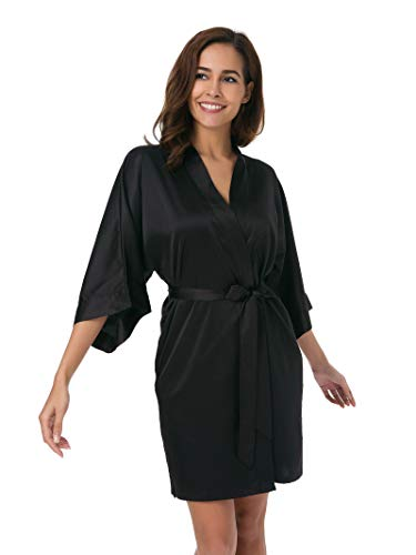 - SIORO Women's Satin Robe,Silky Kimono Bathrobe for Bride Bridesmaids,Wedding Party Loungewear Short,Black S