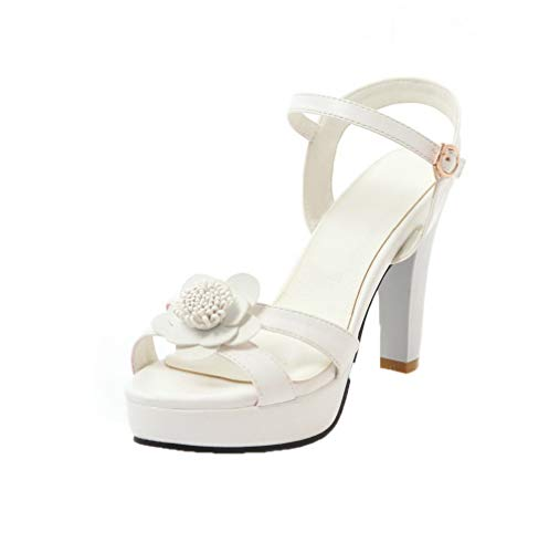 AmoonyFashion Women's Buckle Open-Toe High-Heels Pu Solid Sandals, BUTLT007512, White, 37