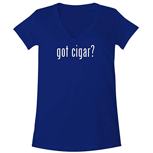 - The Town Butler got Cigar? - A Soft & Comfortable Women's V-Neck T-Shirt, Blue, Medium