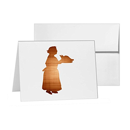 Thanksgiving Dinner Invitations (Thanksgiving Dinner Turkey Woman Bird 3031 , Blank Card Invitation Pack, 15 cards at 4x6, Blank with White Envelopes)