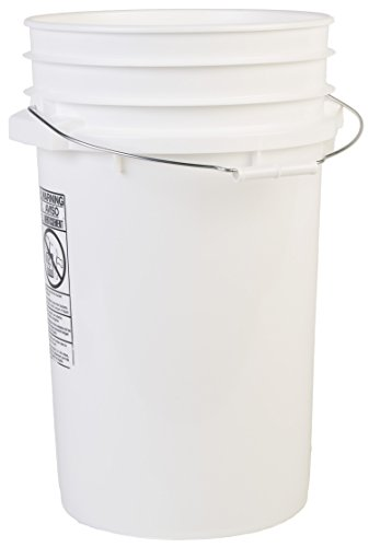 Hudson Exchange Premium 100 Mil HDPE Bucket with Handle, 7 gal, White, Pack of 8 by Hudson Exchange