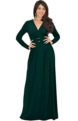 KOH KOH Womens Long Sleeve V-Neck Floor Length Elegant Wrap Waist Maxi Dress