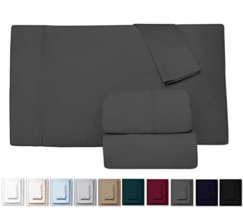 True 600 Thread Count 100% Pure Egyptian Cotton Bed Sheets, 4-Pc Cal King DARK GREY Sheet Set, Single Ply Long-Staple Combed Cotton Yarns, Best Sateen Weave, Fits Mattress Upto 17'' Deep Pocket -