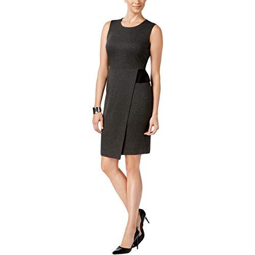 Kasper Women's Ponte Faux Wrap Sheath Dress, Charcoal, 14 from Kasper