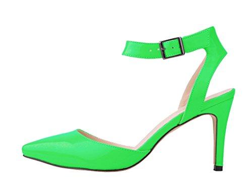tacón sandalia verde Elegante puntiagudo tobillo pu boda correa patente mujeres vestido de de del las banquete del pie elegante dedo de del alto del PrR61Px