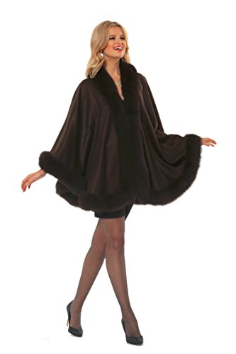 Madison Avenue Mall Dark Brown Fox Trimmed Cashmere Cape for Women - Your Lady