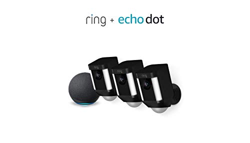 Ring Spotlight Cam Battery HD Cámara de seguridad - Paquete de 3 (negro) y Echo Dot (4.a generación)