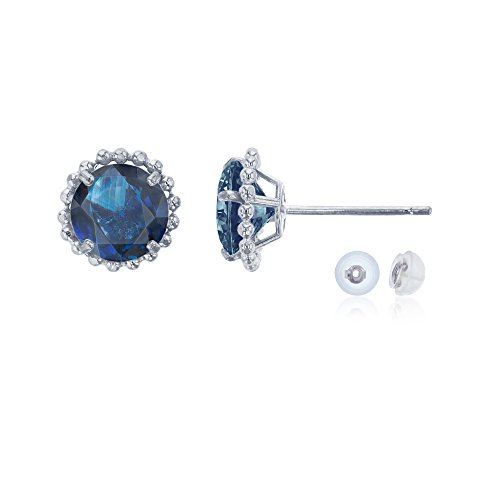 White Sapphire Frame Ring - 14K White Gold 5mm Round Sapphire with Bead Frame Stud Earring with Silicone Back