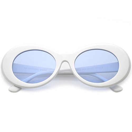 sunglassLA - Retro Oval Sunglasses With Tapered Arms Colored Lens 50mm ()