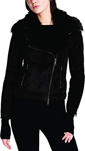 - DKNY Womens Faux-Suede Faux Fur Motorcycle Jacket Black M