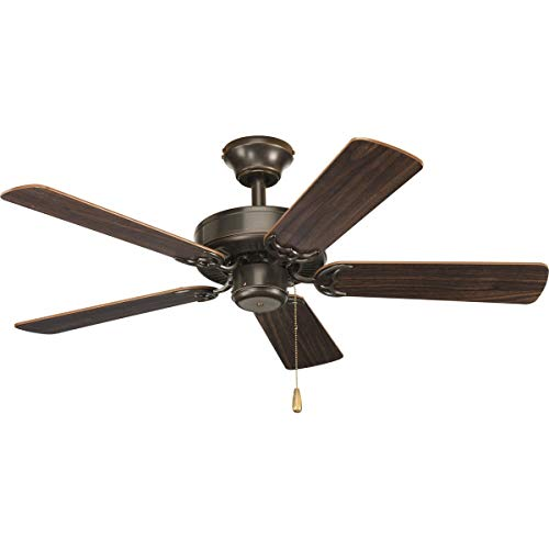 Progress Lighting P2500-20 42-Inch Fan with 5 Blades with Reversible Classic Walnut/Medium Cherry Blades, Antique Bronze from Progress Lighting