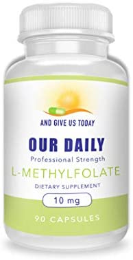 Our Daily Vites L-Methylfolate 10 mg 10000 mcg Maximum Strength Active Folate, 5-MTHF, Filler Free, Gluten Free, Non-GMO, Vegetarian Capsules 90 Count 3 Month Supply 90