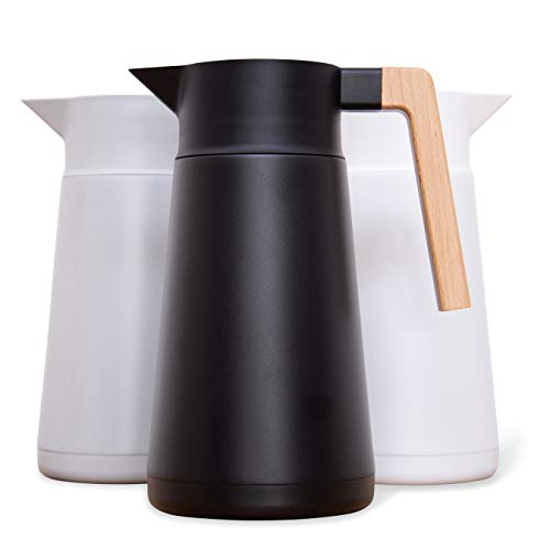 Large Thermal Coffee Carafe - Stainless Steel, Double Walled Thermal Pots For Coffee and Teas by Hastings Collective - Black, Vacuum Carafes With Removable Tea Infuser and Strainer | 68 Oz.