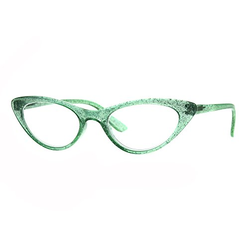 Womens Cat Eye Plastic Glitter Frame Reading Glasses 1.0 - Green Glasses Cat Eye
