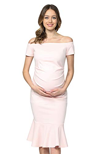 LaClef Women's Off Shoulder Maternity Midi Dress with Mermaid Hem (Blush, S)