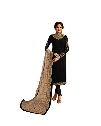 Delisa Indian/Pakistani Fashion Dresses for Women P0 (Black, LARGE-42)