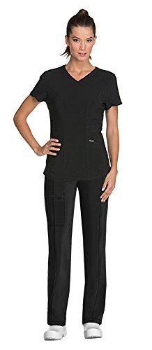 (Cherokee Infinity by Women's V-Neck Top with Certainty CK623A & Low Rise Drawstring Pant 1123A Scrub Set (Antimicrobial) (Black - Small/Medium))