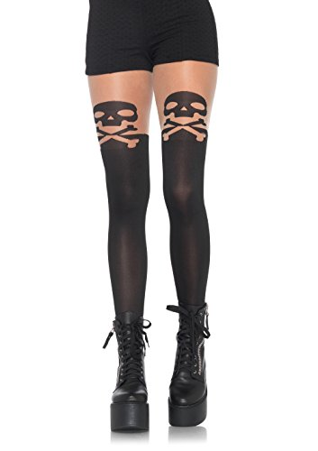 Leg Avenue Women's Skull and Crossbone Pantyhose, Black, One Size - Halloween Costumes Competition