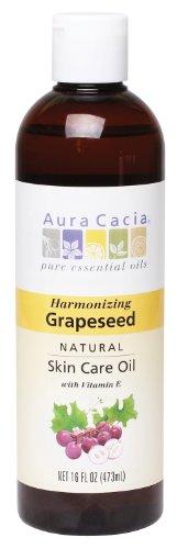 Aura Cacia Natural Skin Care Oil, Harmonizing Grapeseed with Vitamin E, 16 Fluid Ounce