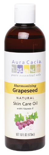 Aura Cacia Natural Skin Care Oil, Harmonizing Grapeseed with Vitamin E, 16 Fluid Ounce